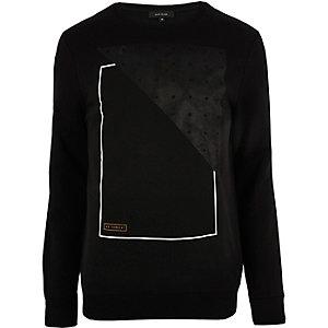 Black suede panel sweatshirt