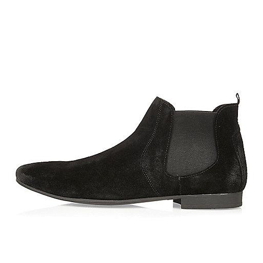 Schwarze Chelsea-Stiefel aus Wildleder
