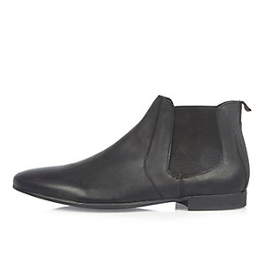Black brushed leather Chelsea boots