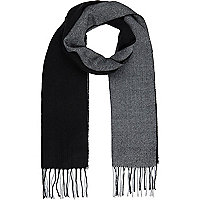 Black colour block scarf