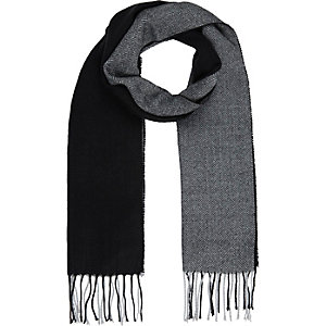 Black color block scarf