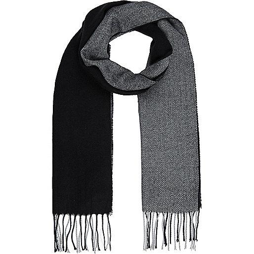 Black colour block scarf