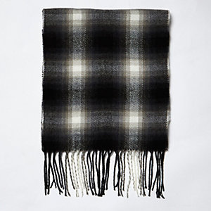 Black tartan scarf