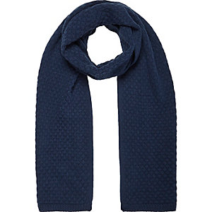 Navy honeycomb knit scarf