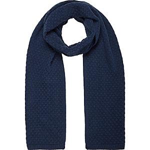 Navy honeycomb knit scarf