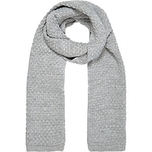 Grey marl honeycomb knit scarf