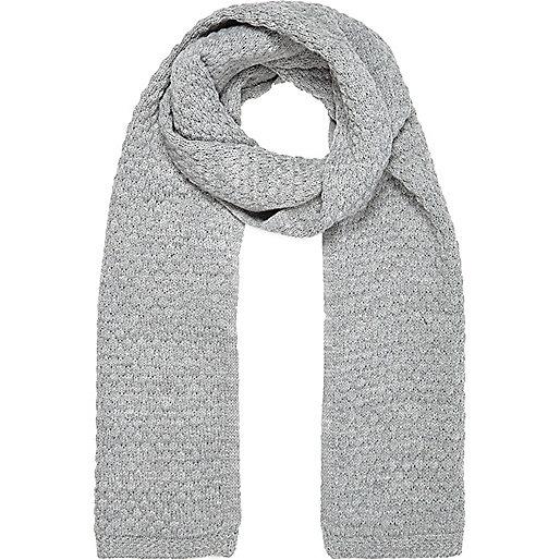 Grey marl honeycomb knit scarf