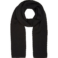 Black honeycomb knit scarf