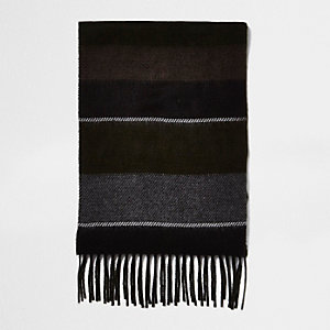 Khaki double-sided stripe scarf