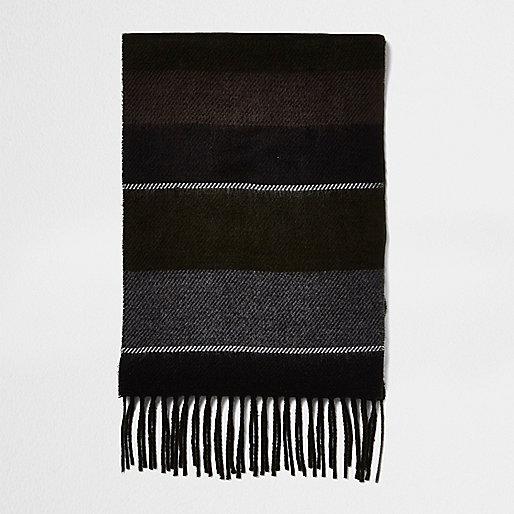 Khaki double-sided stripe scarf