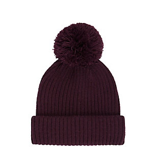 Dark red bobble fisherman beanie