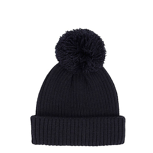 Navy bobble fisherman beanie