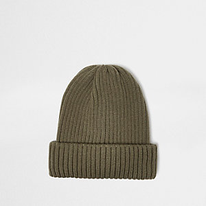 Green fisherman beanie hat