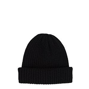 Schwarze Beanie-Mütze