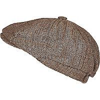 Brown herringbone baker boy hat