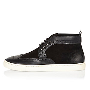 Black leather and suede brogue hi-tops