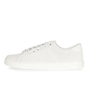 White perforated lace-up sneakers