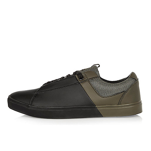 Khaki and black lace-up trainer