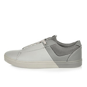 White and grey lace-up trainer