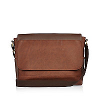 Brown flapover shoulder bag