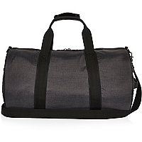 Grey quilted holdall bag