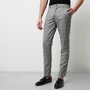 Pantalon habillé skinny à carreaux gris