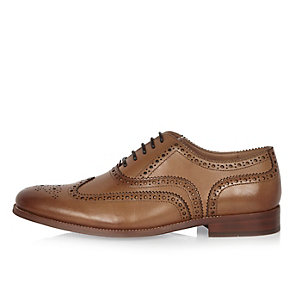 Brown leather brogues