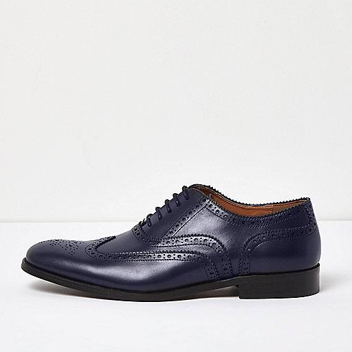 Chaussures Richelieu en cuir bleu marine