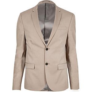 Ecru skinny cropped suit jacket