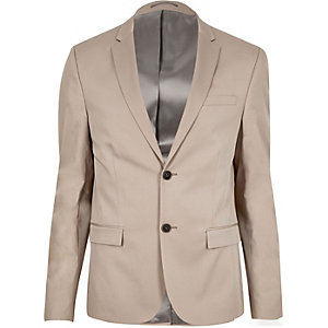 Ecru skinny cropped suit jacket