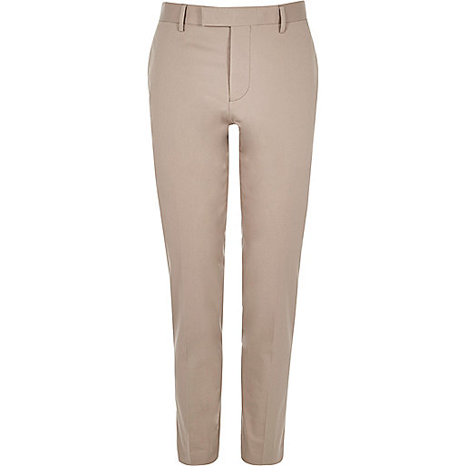 Ecru skinny fit suit pants