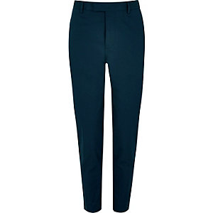 Navy cotton skinny suit pants