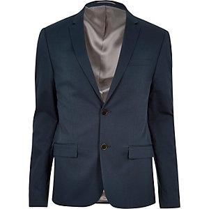 Blue skinny cropped suit jacket
