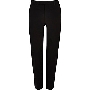 Black cotton skinny suit pants