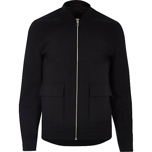 Navy slim fit blazer bomber jacket