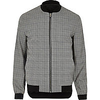 Grey check formal bomber jacket