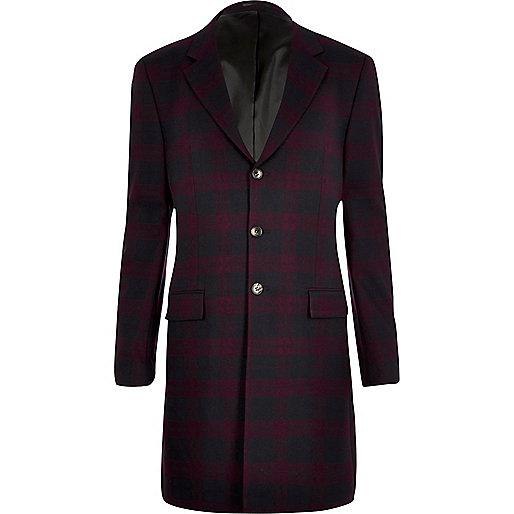 Red tartan longline blazer