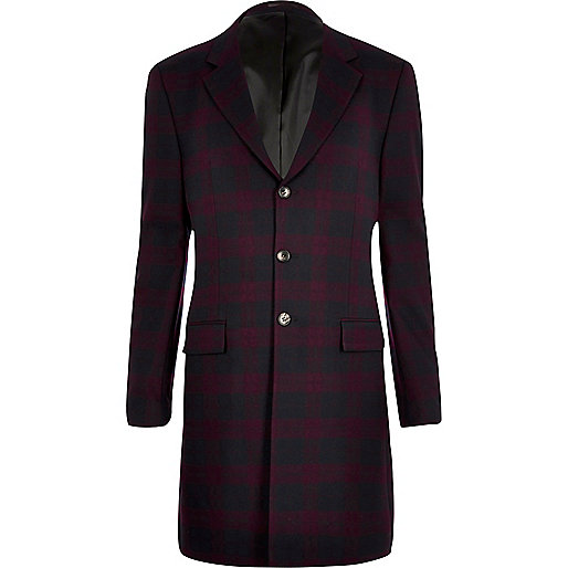 Red plaid longline blazer