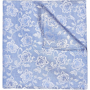 Blue floral print wedding pocket square