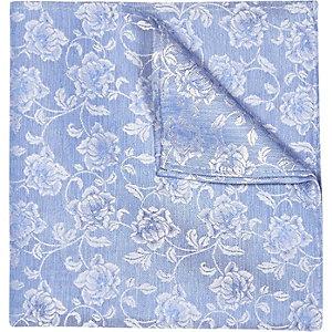 Blue floral print wedding pocket square