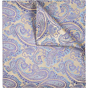 Blue wedding paisley print pocket square