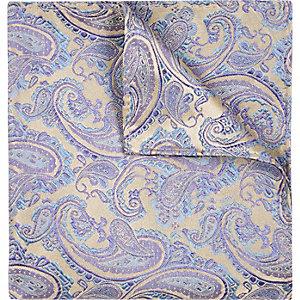 Blue wedding paisley print pocket square