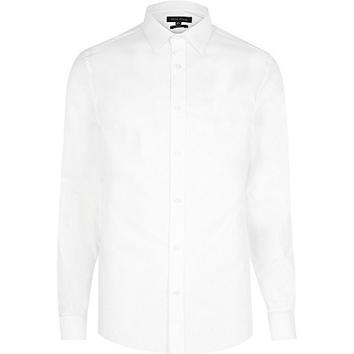 Chemise blanche à col italien