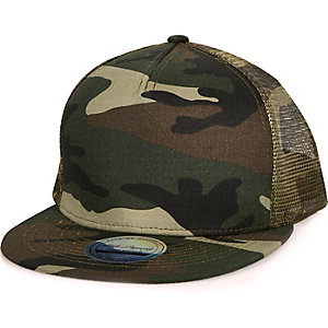 Green camouflage print cap