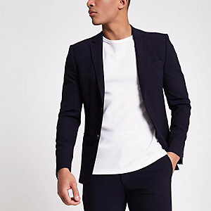 Navy super skinny fit suit jacket