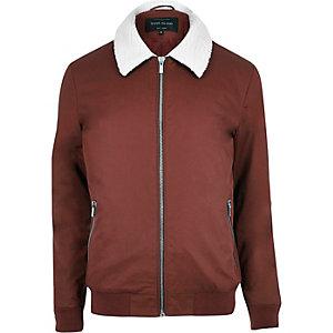 Rust borg collar harrington jacket