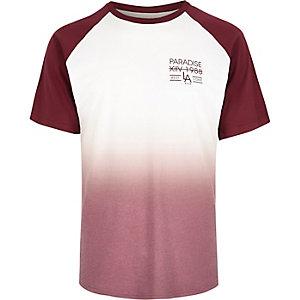 Red faded raglan t-shirt