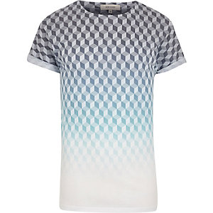 White geometric print T-shirt