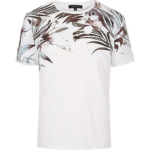 White floral shoulder print T-shirt