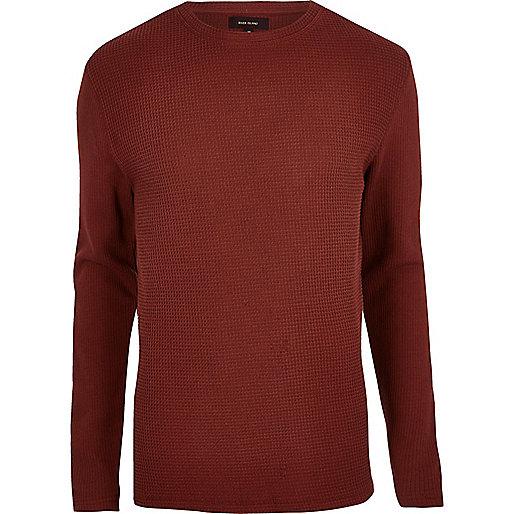 Rust waffle knit sweater